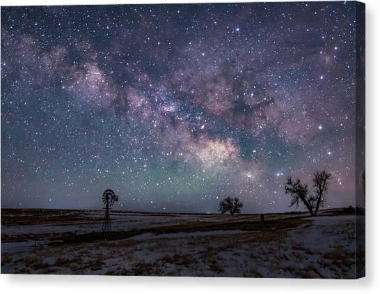 Milky Way Over The Prairie Canvas Print