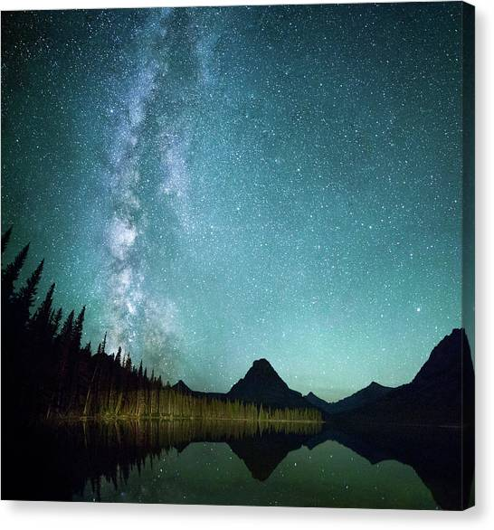 Mountain Ranges Canvas Print - Milky Way // Two Medicine Lake, Glacier National Park by Nicholas Parker