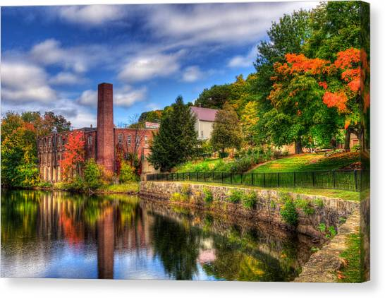 Mill Building - Autumn In Laconia Nh Canvas Print by Joann Vitali