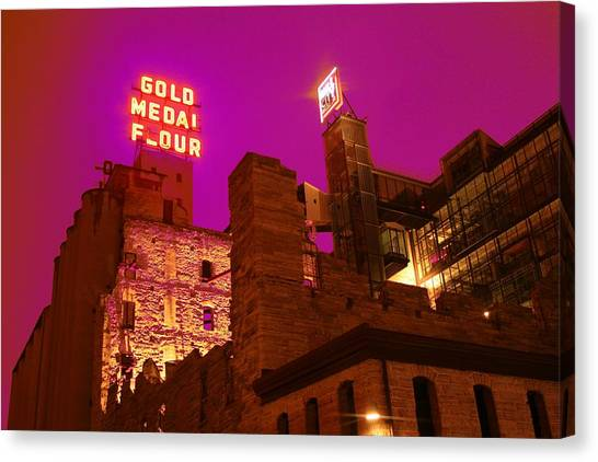 Mill City At Night Canvas Print