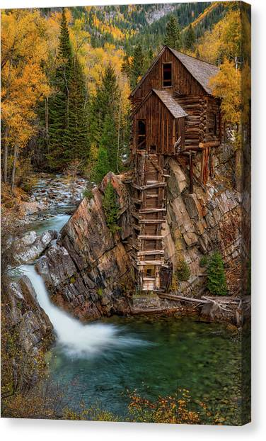Crystal Mill Canvas Print - Mill In The Mountains by Darren White