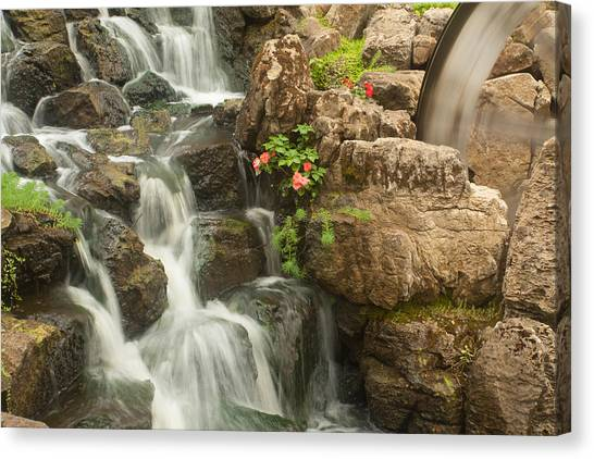 Canvas Print featuring the photograph Mill Wheel With Waterfall by David Coblitz