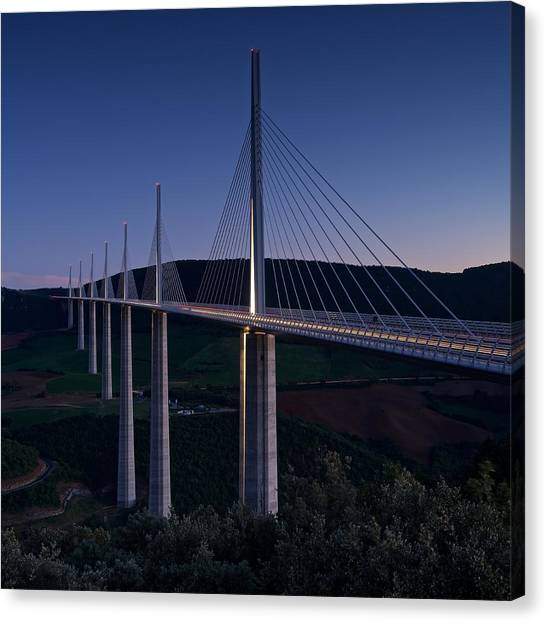 Millau Viaduct At Dusk Canvas Print