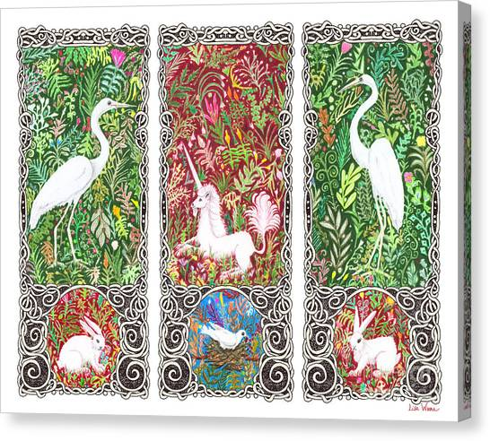 Millefleurs Triptych With Unicorn, Cranes, Rabbits And Dove Canvas Print