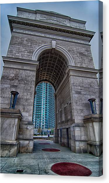 Millennium Gate Triumphal Arch At Atlantic Station In Midtown At Canvas Print