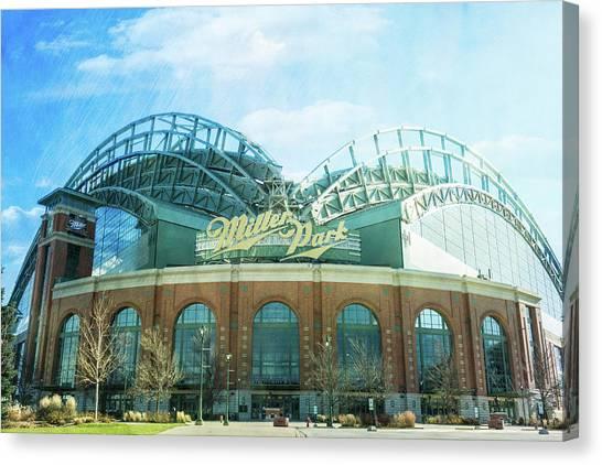 Milwaukee Brewers Canvas Print - Miller Park Stadium by Joel Witmeyer
