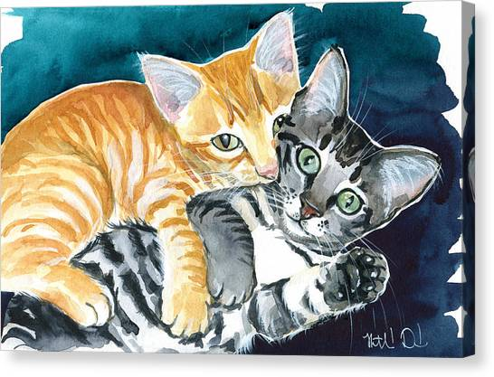 Milo And Tigger - Cute Kitty Painting Canvas Print