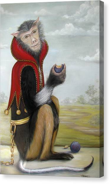 Milo In Red Vest Canvas Print by Judy Merrell