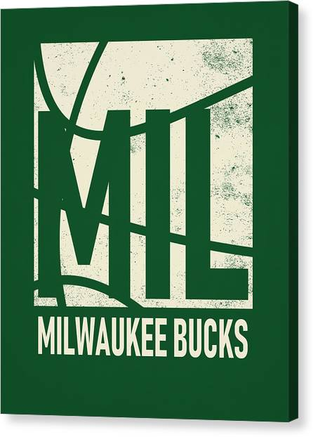 Milwaukee Bucks Canvas Print - Milwauke Bucks City Poster Art by Joe Hamilton