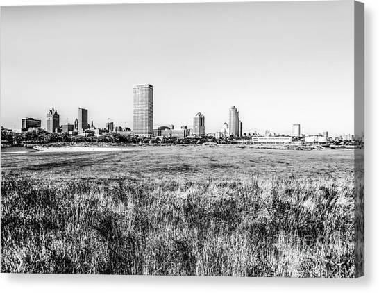Northwestern University Canvas Print - Milwaukee Skyline Black And White Picture by Paul Velgos