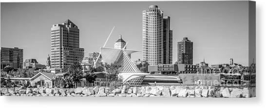 Northwestern University Canvas Print - Milwaukee Skyline Panorama In Black And White by Paul Velgos