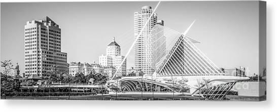 Northwestern University Canvas Print - Milwaukee Skyline Panoramic Photo In Black And White by Paul Velgos
