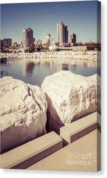 Northwestern University Canvas Print - Milwaukee Skyline Retro Picture by Paul Velgos
