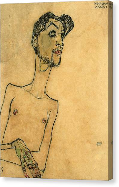 Nipples Canvas Print - Mime Van Osen by Egon Schiele