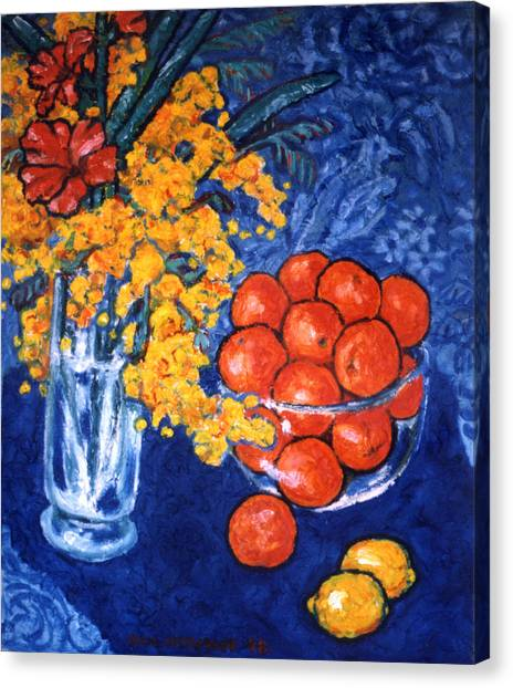 Mimosa And Tangerines Canvas Print by Paul Herman