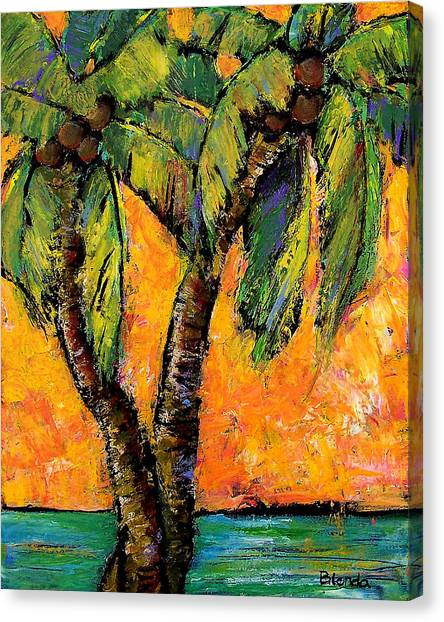 Orange Tree Canvas Print - Mimosa Sky Palm by Blenda Studio