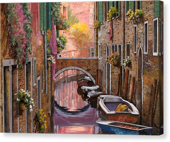 Canal Canvas Print - Mimosa Sui Canali by Guido Borelli