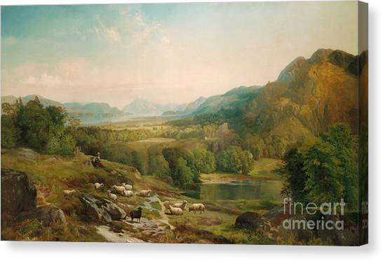 Country Canvas Print - Minding The Flock by Thomas Moran