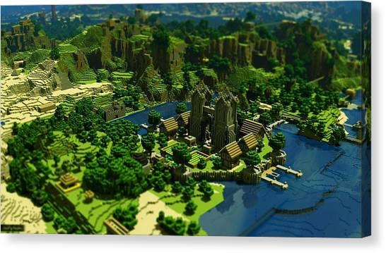 Minecraft Canvas Print - Minecraft Trees Houses By Luke Lonergan by Luke Lonergan
