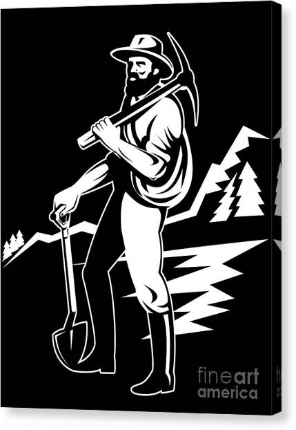 Miner With Pick Axe And Shovel  Canvas Print by Aloysius Patrimonio