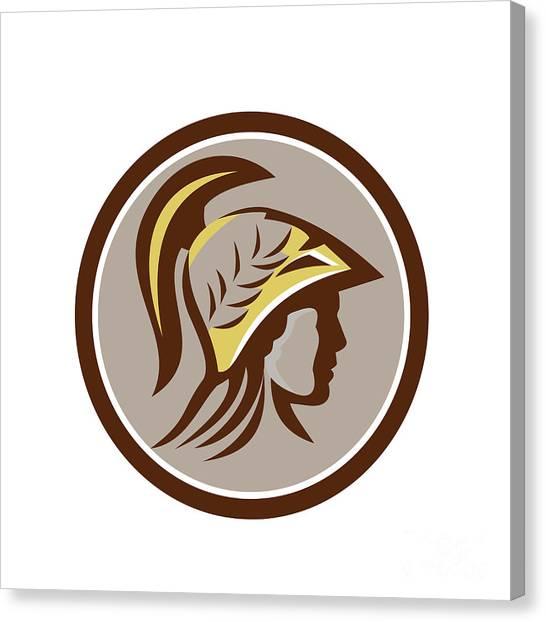 Warrior Goddess Canvas Print - Minerva Head Helmet Circle Retro by Aloysius Patrimonio