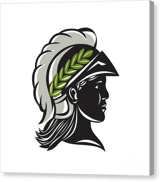 Warrior Goddess Canvas Print - Minerva Head Profile Silhouette Retro by Aloysius Patrimonio