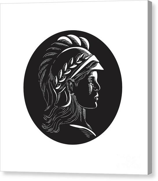 Warrior Goddess Canvas Print - Minerva Head Side Profile Oval Woodcut by Aloysius Patrimonio