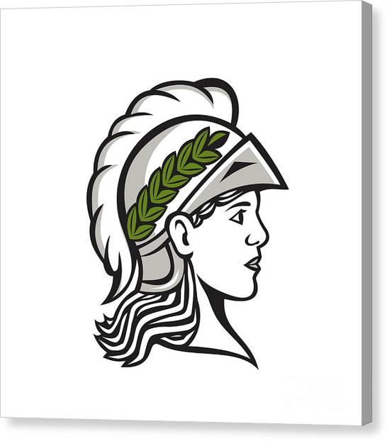 Warrior Goddess Canvas Print - Minerva Head Side Profile Retro by Aloysius Patrimonio