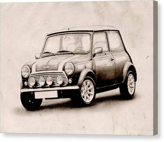 Austin Canvas Print - Mini Cooper Sketch by Michael Tompsett