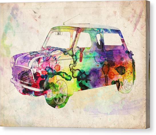 England Canvas Print - Mini Cooper Urban Art by Michael Tompsett