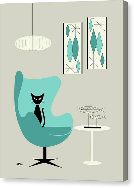 Mini Gravel Art On Gray With Black Cat Canvas Print
