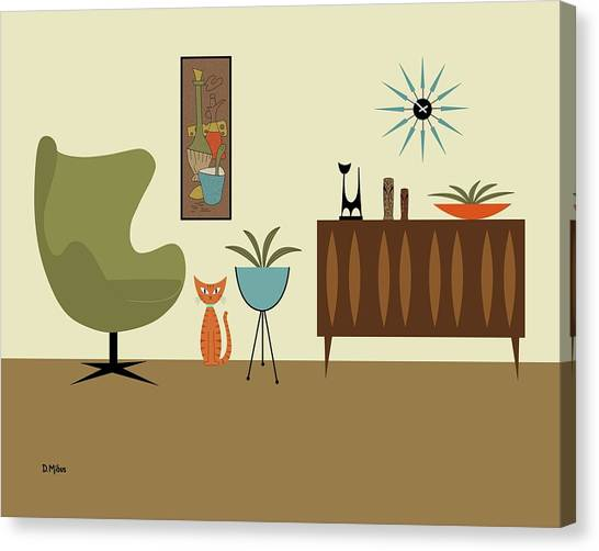 Mini Gravel Art With Orange Cat Canvas Print