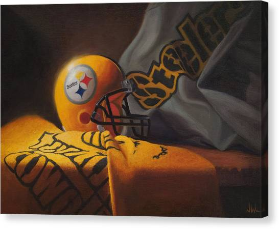 Pittsburgh Canvas Print - Mini Helmet Commemorative Edition by Joe Winkler