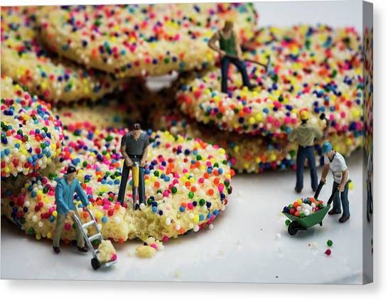 Miniature Construction Workers On Sprinkle Cookies Canvas Print
