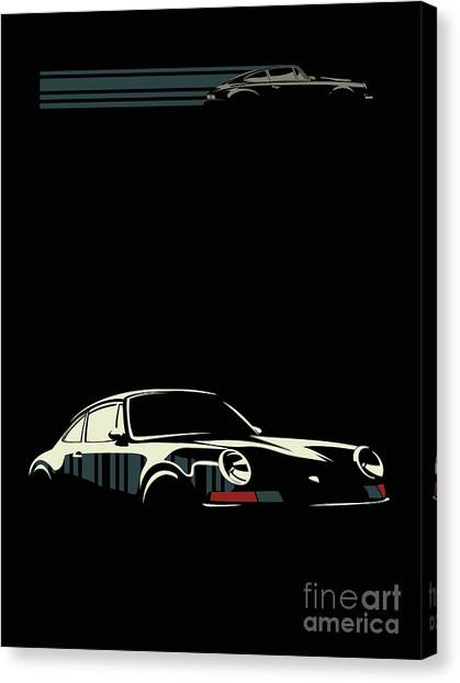 Canvas Print featuring the digital art Minimalist Porsche by Sassan Filsoof
