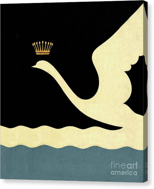 Swan Canvas Print - Minimalist Swan Queen Flying Crowned Swan by Tina Lavoie
