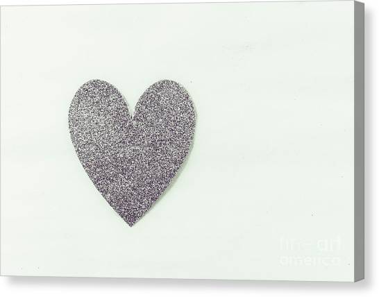 Minimalistic Silver Glitter Heart Canvas Print