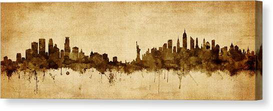 Minnesota Canvas Print - Minneapolis And New York Skyline Mashup by Michael Tompsett
