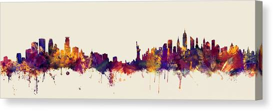 Minnesota Canvas Print - Minneapolis And New York Skylines Mashup by Michael Tompsett