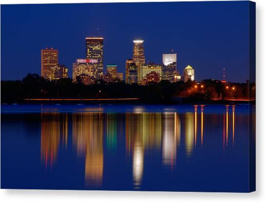 Minneapolis At Night Canvas Print