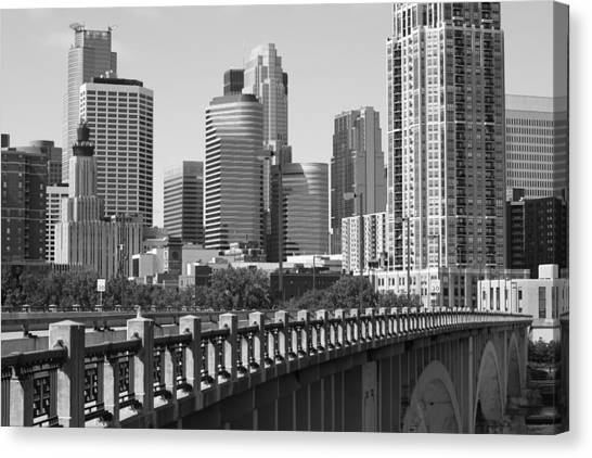 Minneapolis Black And White Canvas Print