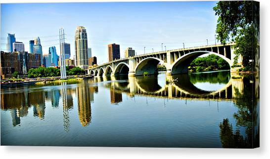 Mississippi River Canvas Print - Minneapolis Bridge by Laurianna Murray