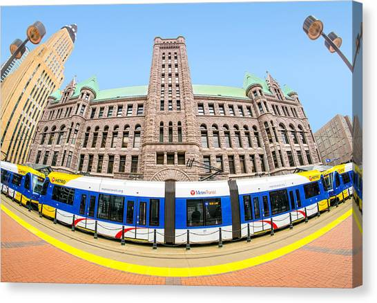 Minnesota Twins Canvas Print - Minneapolis City Hall And Blue Line Rail by Jim Hughes