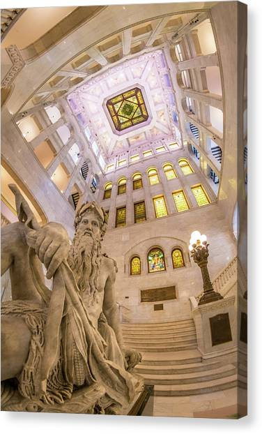 Romanesque Art Canvas Print - Minneapolis City Hall Rotunda, Father Of Waters by Jim Hughes