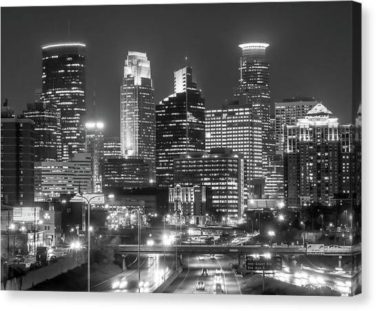 Minnesota Twins Canvas Print - Minneapolis City Skyline At Night by Jim Hughes