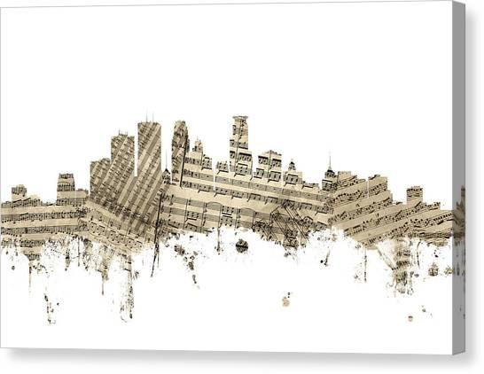 Sheet Music Canvas Print - Minneapolis Minnesota Skyline Sheet Music by Michael Tompsett