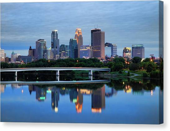 Mississippi River Canvas Print - Minneapolis Reflections by Rick Berk
