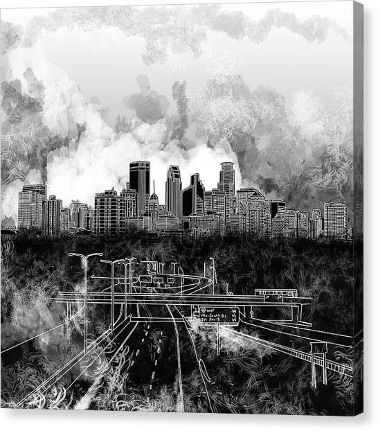 Mississippi River Canvas Print - Minneapolis Skyline Abstract 2 by Bekim Art