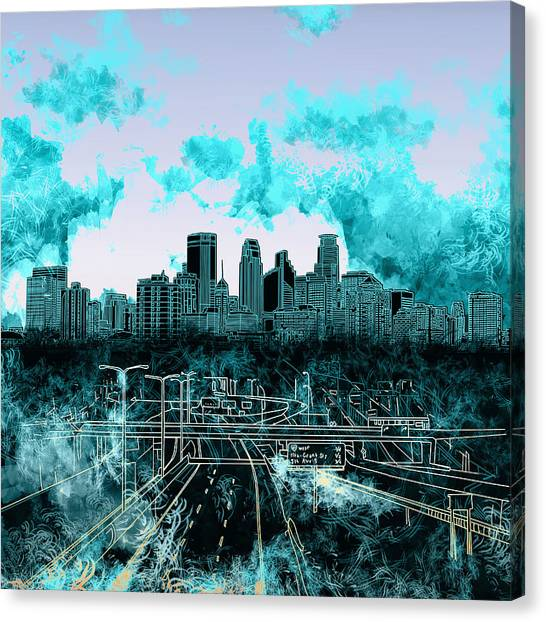 Mississippi River Canvas Print - Minneapolis Skyline Abstract 3 by Bekim Art