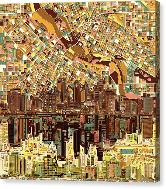 Mississippi River Canvas Print - Minneapolis Skyline Abstract 8 by Bekim Art